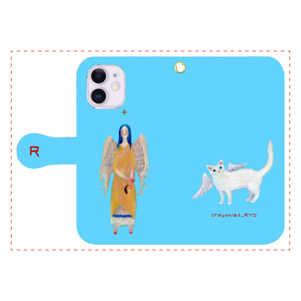 猫天使の手帳型スマホケース iPhone12mini 手帳型スマホケース