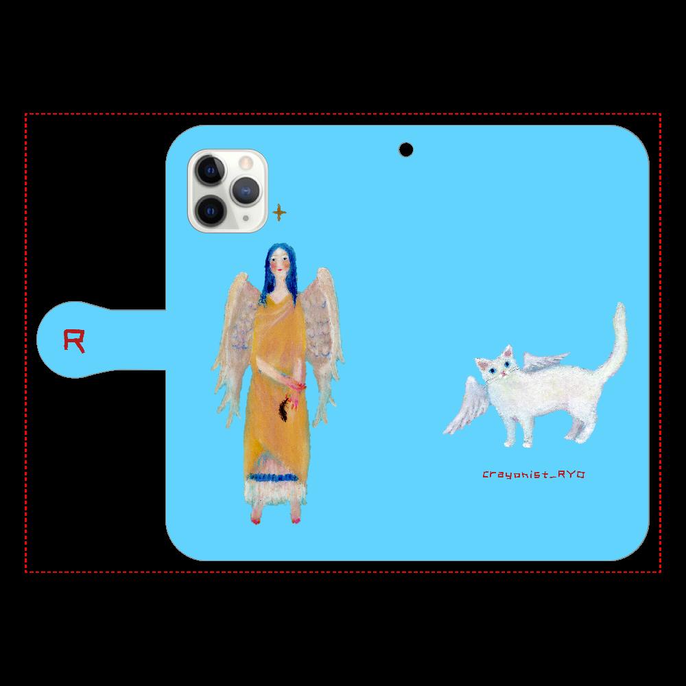 猫天使の手帳型スマホケース iPhone11 Pro 手帳型スマホケース