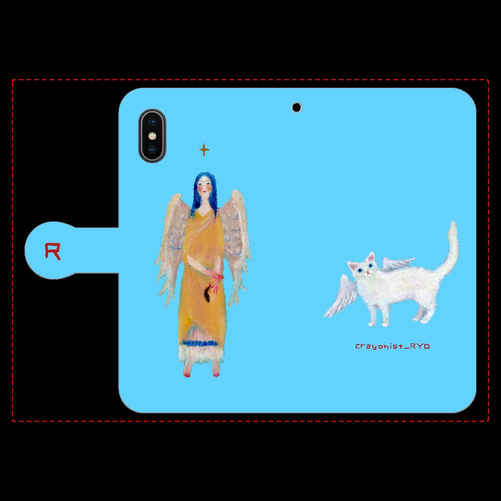 猫天使の手帳型スマホケース iPhoneX/Xs 手帳型スマホケース