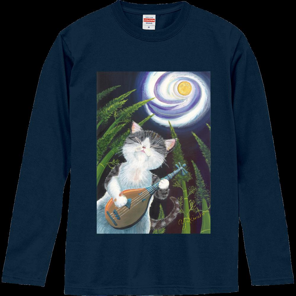 月は琵琶の音に誘われて♪ 前面と右袖プリントありです ロングスリーブTシャツ