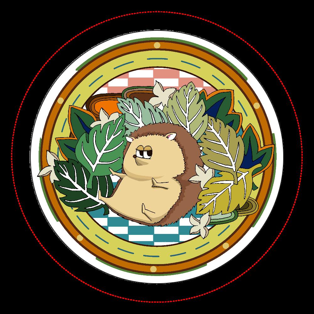 ボタニカル&ハリネズミ オリジナル缶バッジ白背景(56mm)
