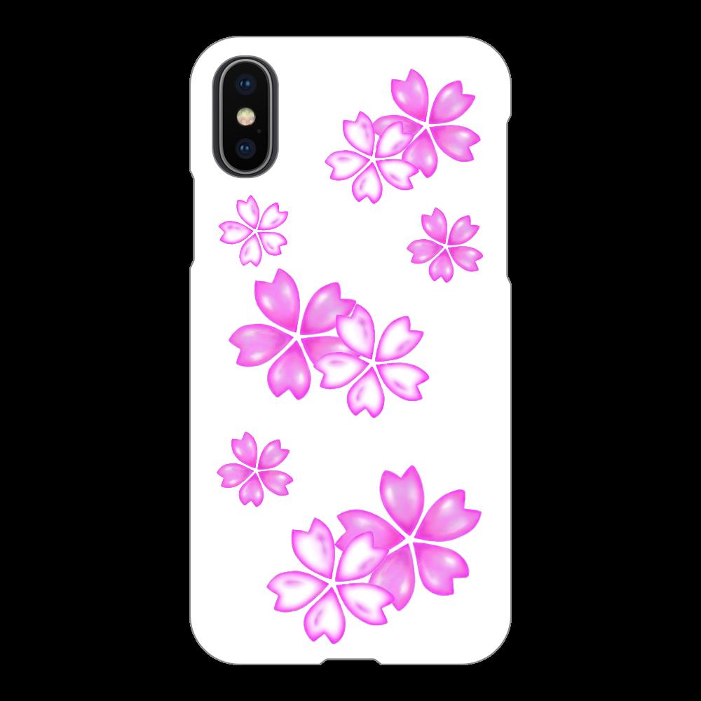 サクラ スマホケース iPhoneX/Xs(白)