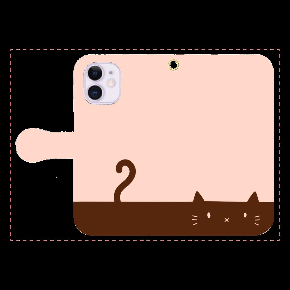 ネコカバー(オレンジ) iPhone12mini 手帳型スマホケース