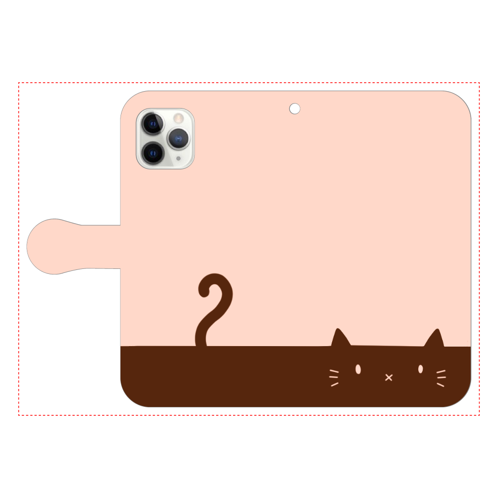 ネコカバー(オレンジ) iPhone11 Pro 手帳型スマホケース