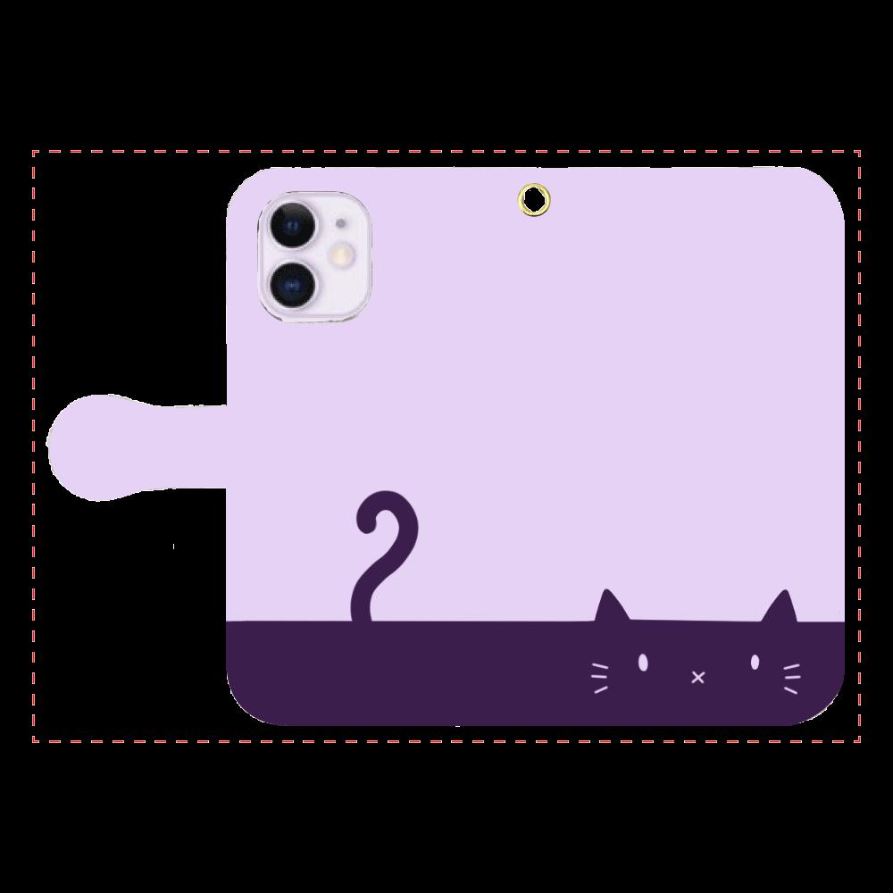 ネコカバー(パープル) iPhone12mini 手帳型スマホケース