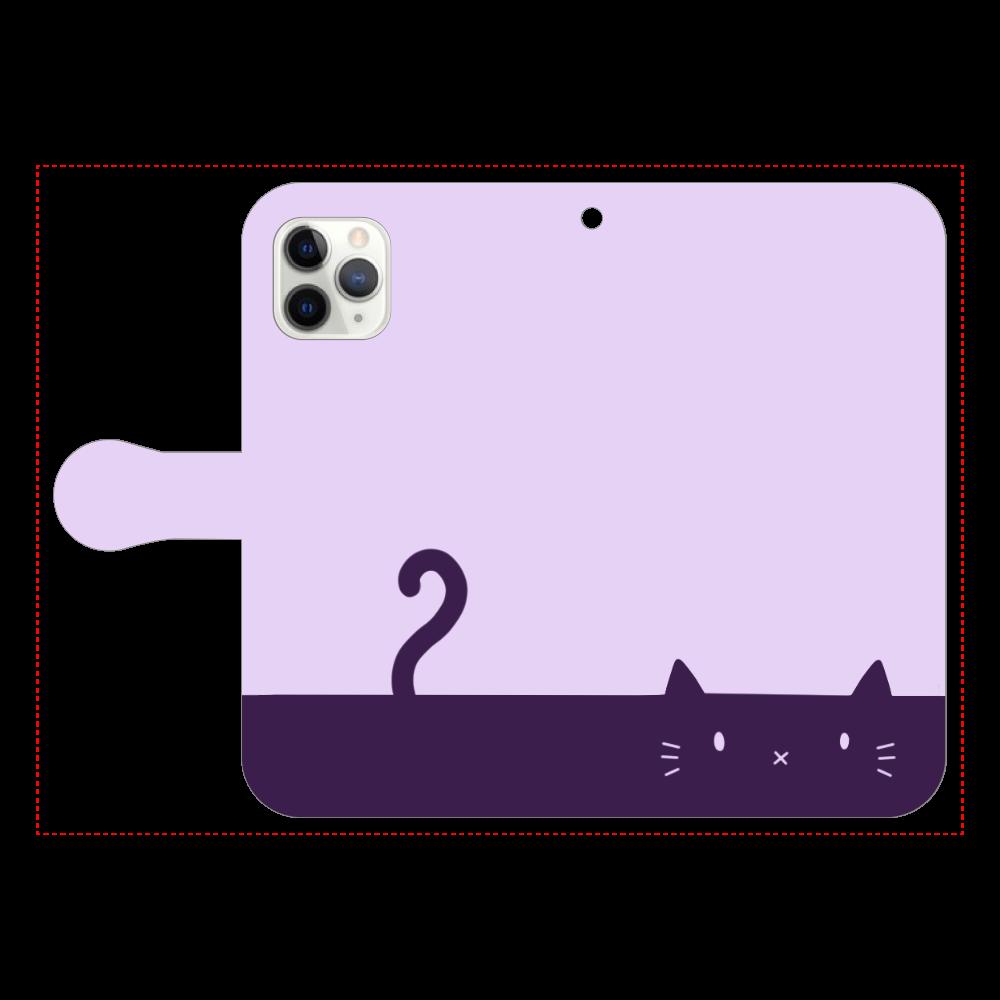 ネコカバー(パープル) iPhone11 Pro 手帳型スマホケース