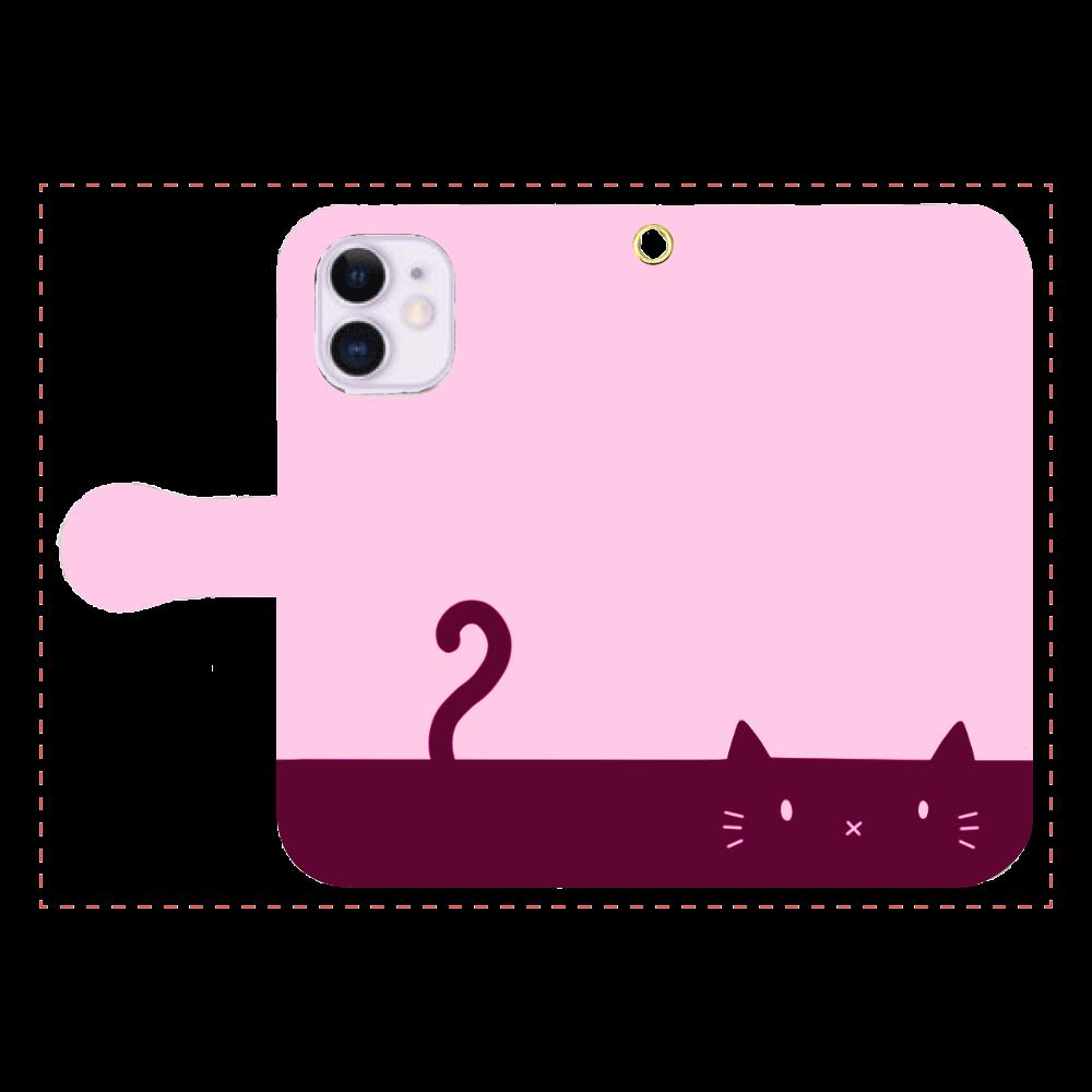ネコカバー(ピンク) iPhone12mini 手帳型スマホケース
