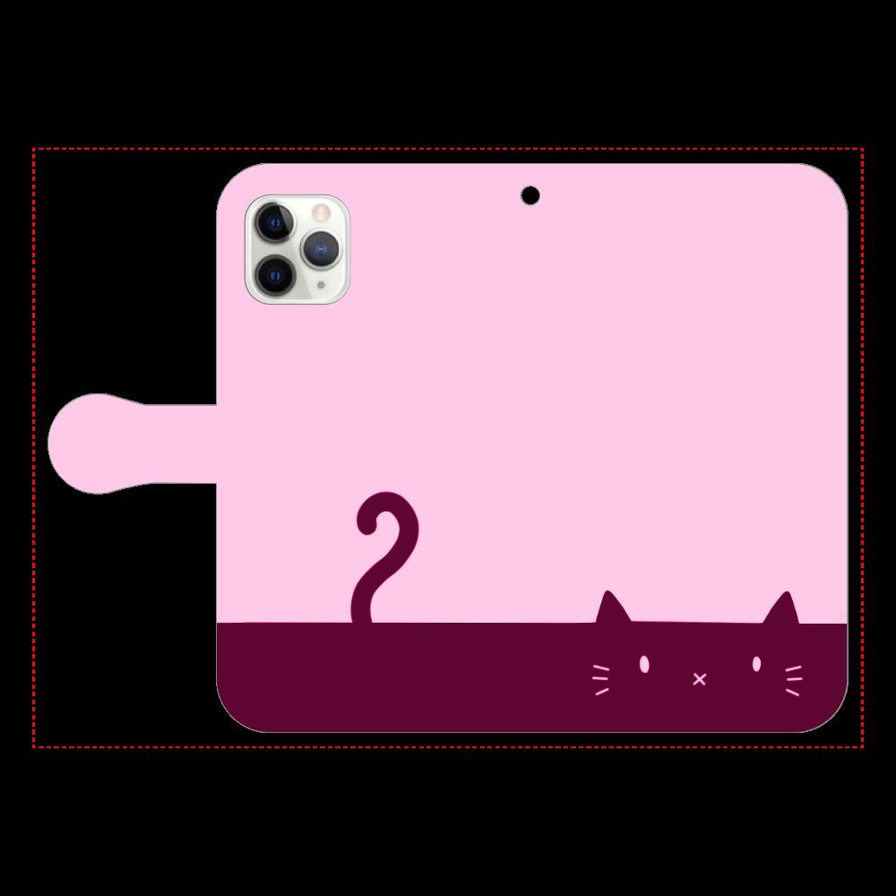 ネコカバー(ピンク) iPhone11 Pro 手帳型スマホケース