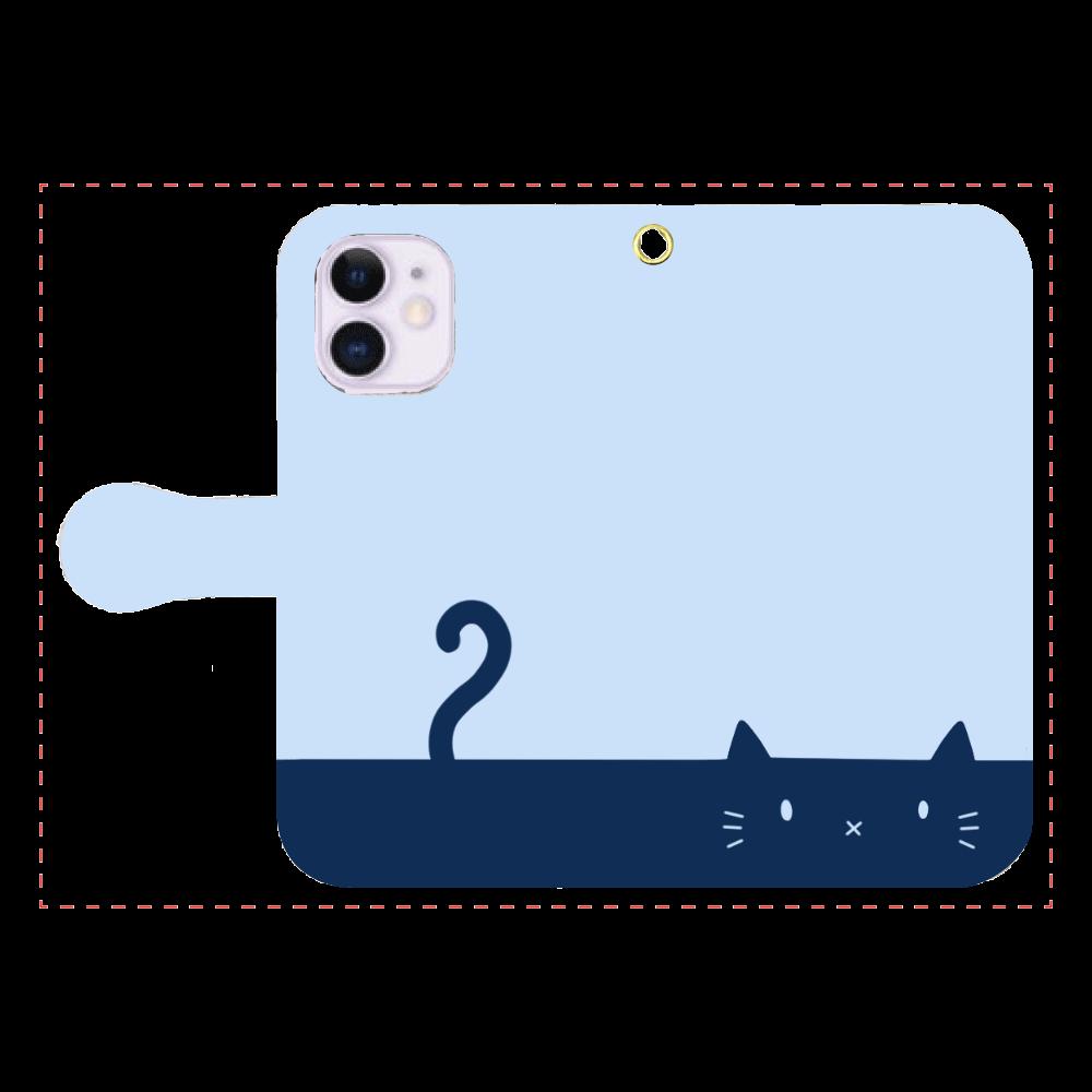 ネコカバー(ブルー) iPhone12mini 手帳型スマホケース