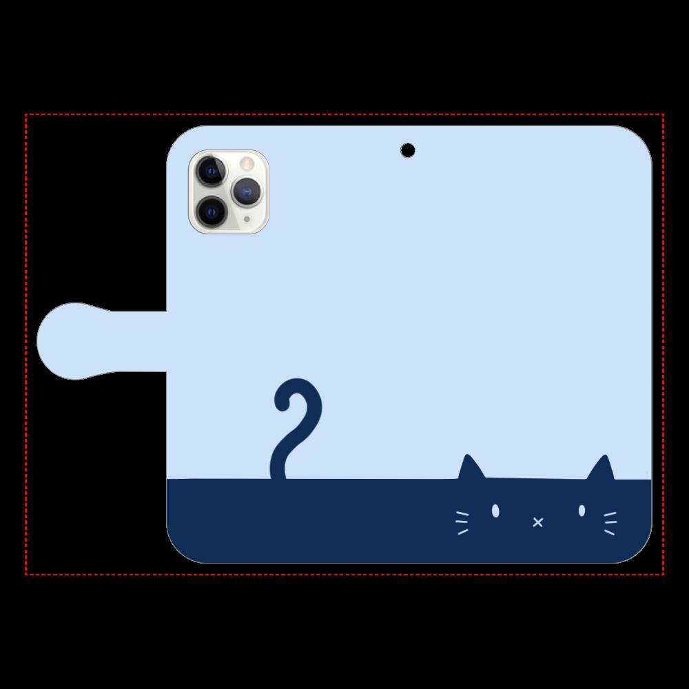 ネコカバー(ブルー) iPhone11 Pro 手帳型スマホケース
