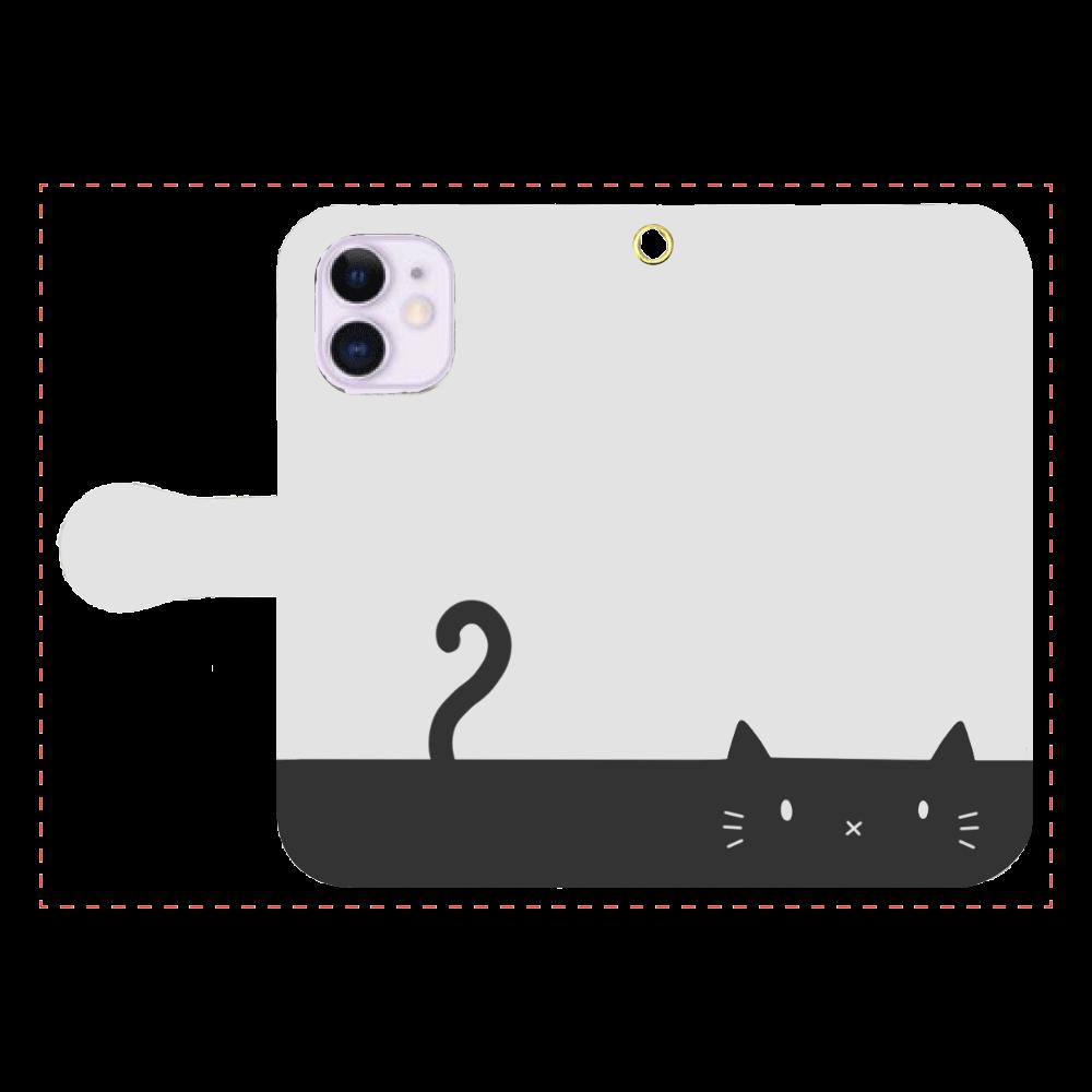 ネコカバー(モノトーン) iPhone12mini 手帳型スマホケース