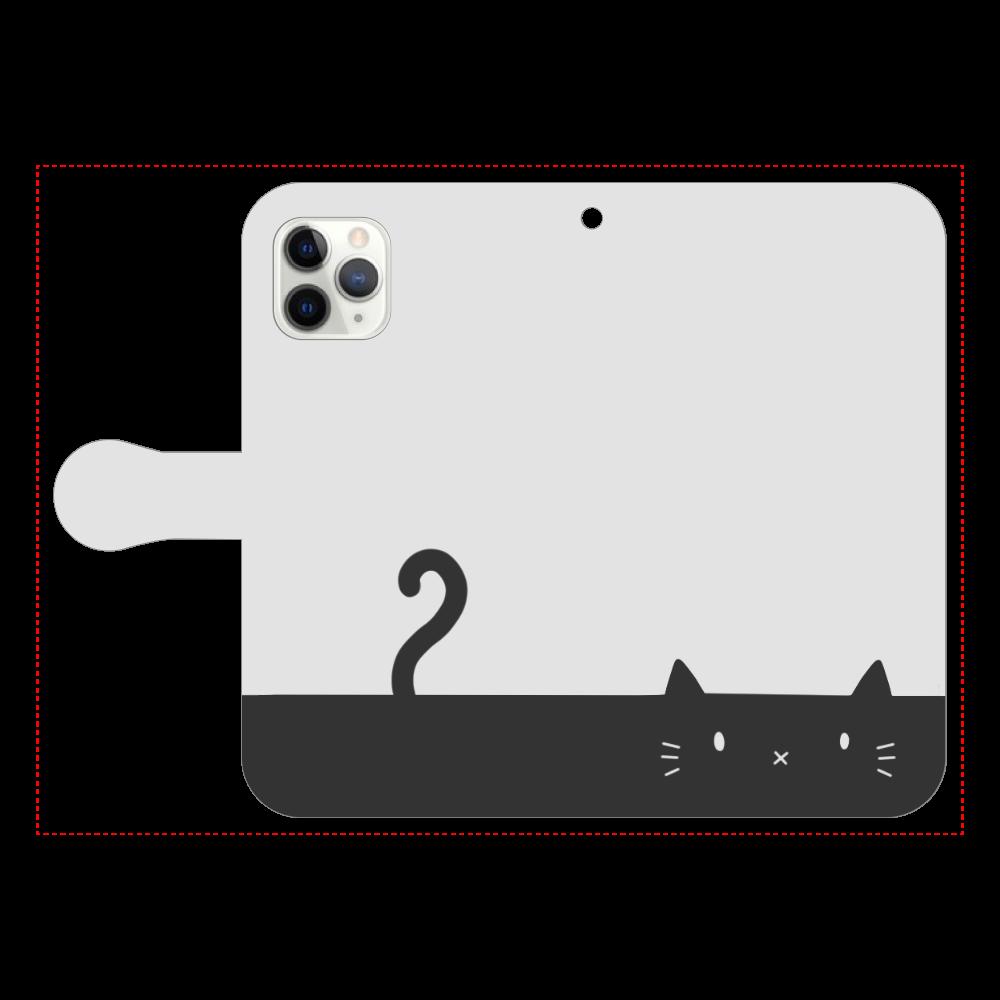 ネコカバー(モノトーン) iPhone11 Pro 手帳型スマホケース
