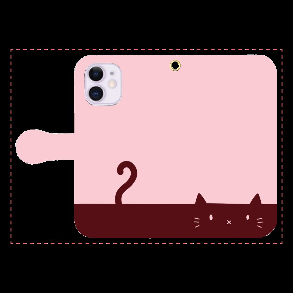 ネコカバー(ローズ) iPhone12mini 手帳型スマホケース