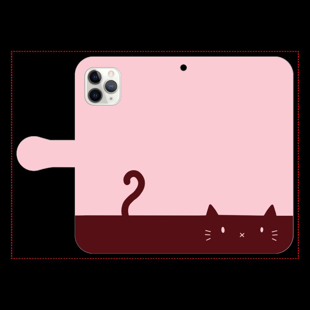 ネコカバー(ローズ) iPhone11 Pro 手帳型スマホケース