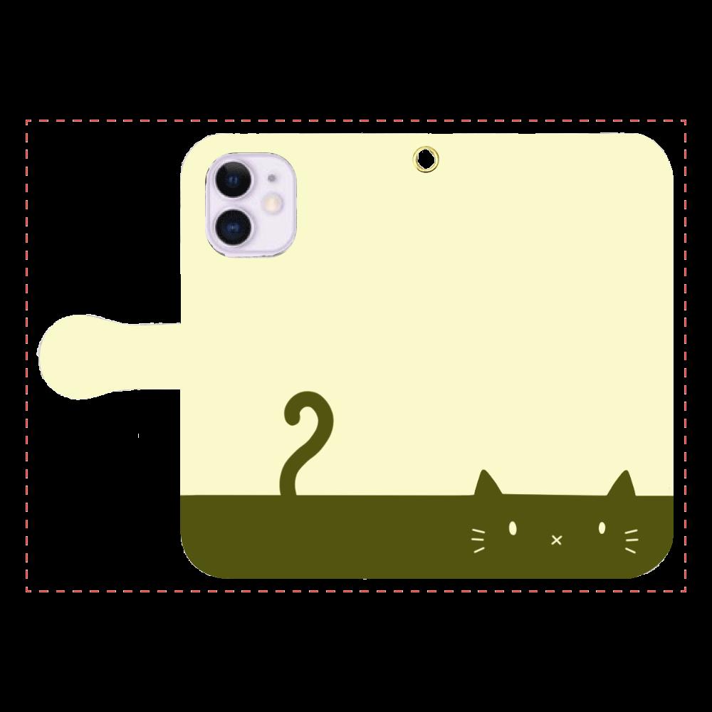ネコカバー(抹茶) iPhone12mini 手帳型スマホケース