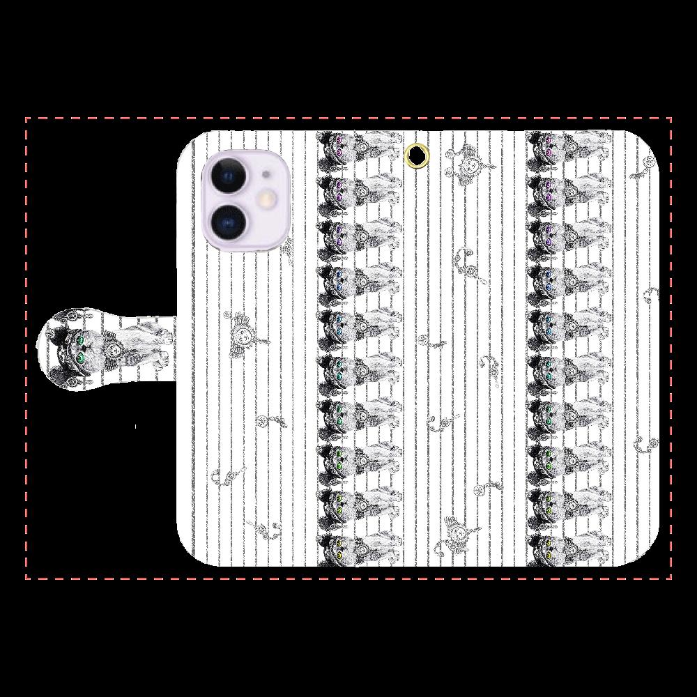 ねこねこレインボーダー iPhone12mini 手帳型スマホケース