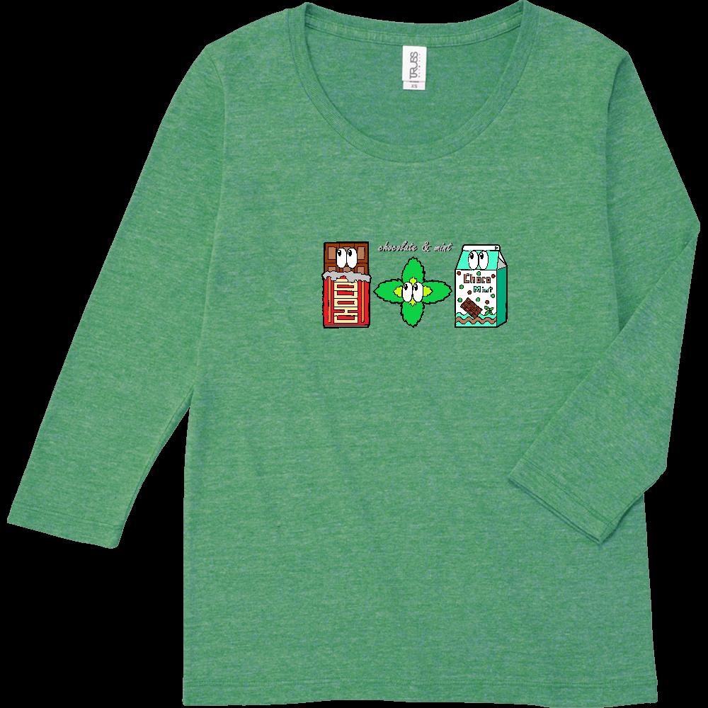 チョコミント/モンスター トライブレンド7分袖レディースTシャツ
