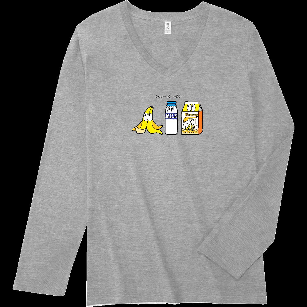 バナナミルク/モンスター スリムフィット VネックロングスリーブTシャツ