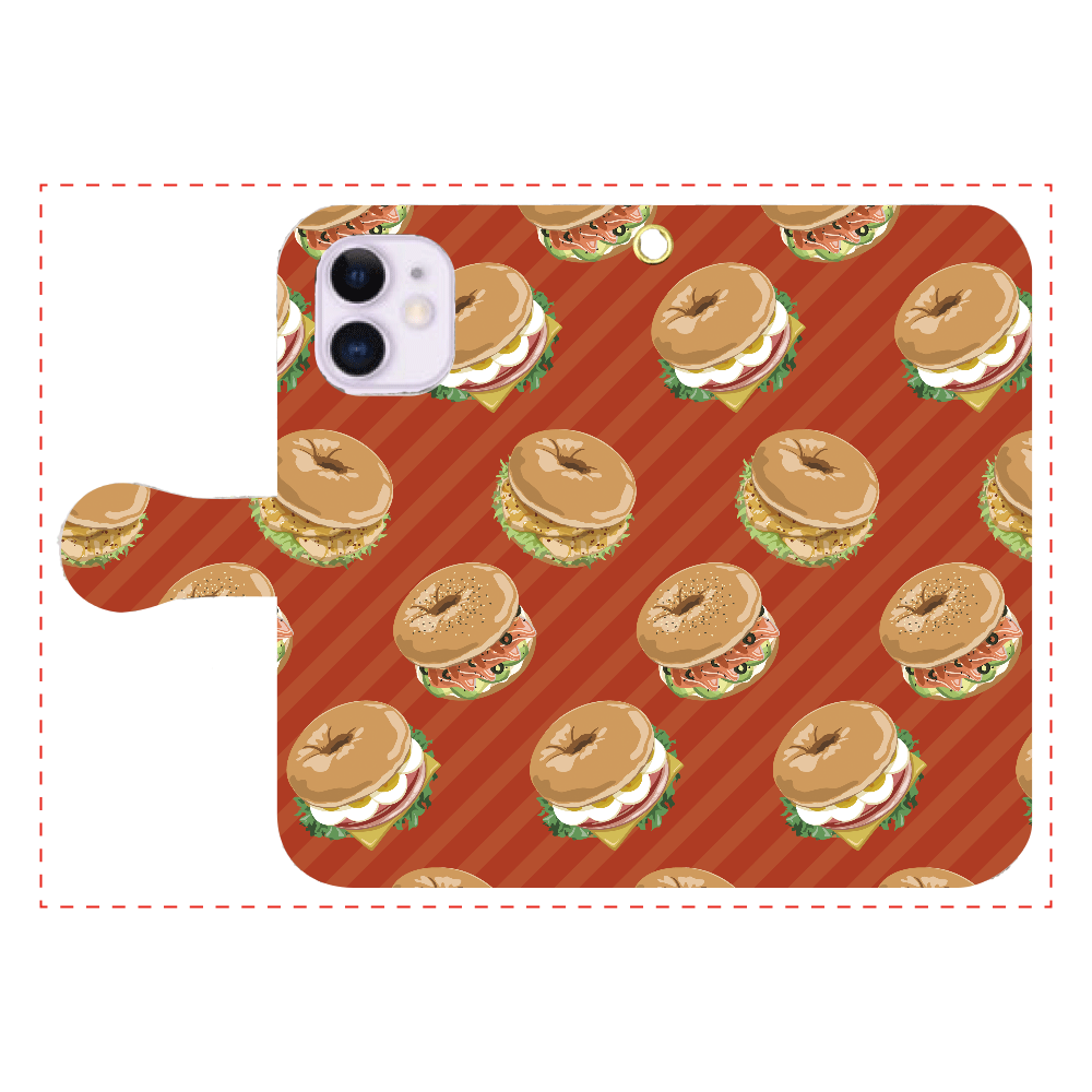 ベーグルサンドのスマホケース iPhone12mini 手帳型スマホケース