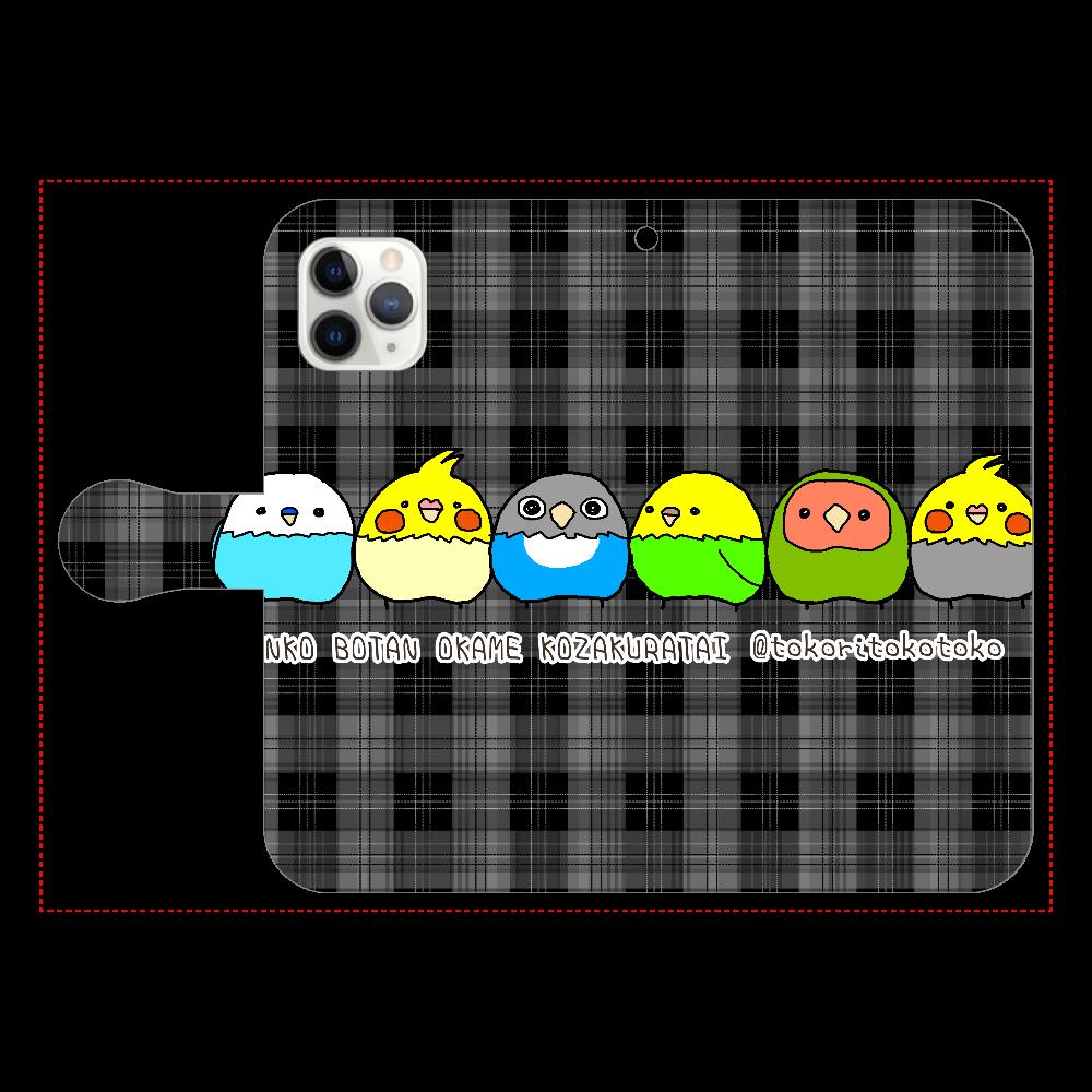 インコ ボタン オカメ コザクラ隊 iPhone11 Pro 手帳型スマホケース