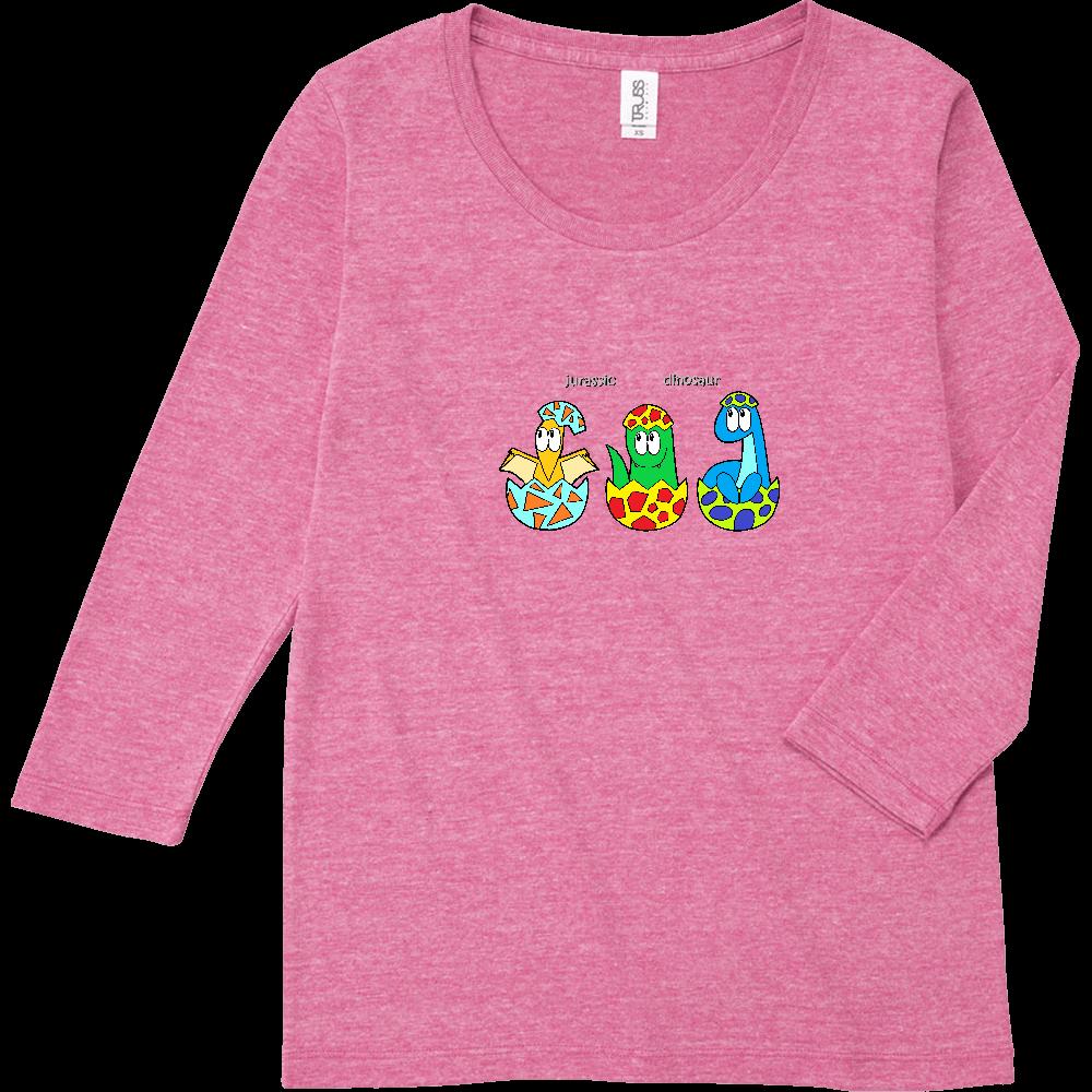 恐竜/モンスター トライブレンド7分袖レディースTシャツ