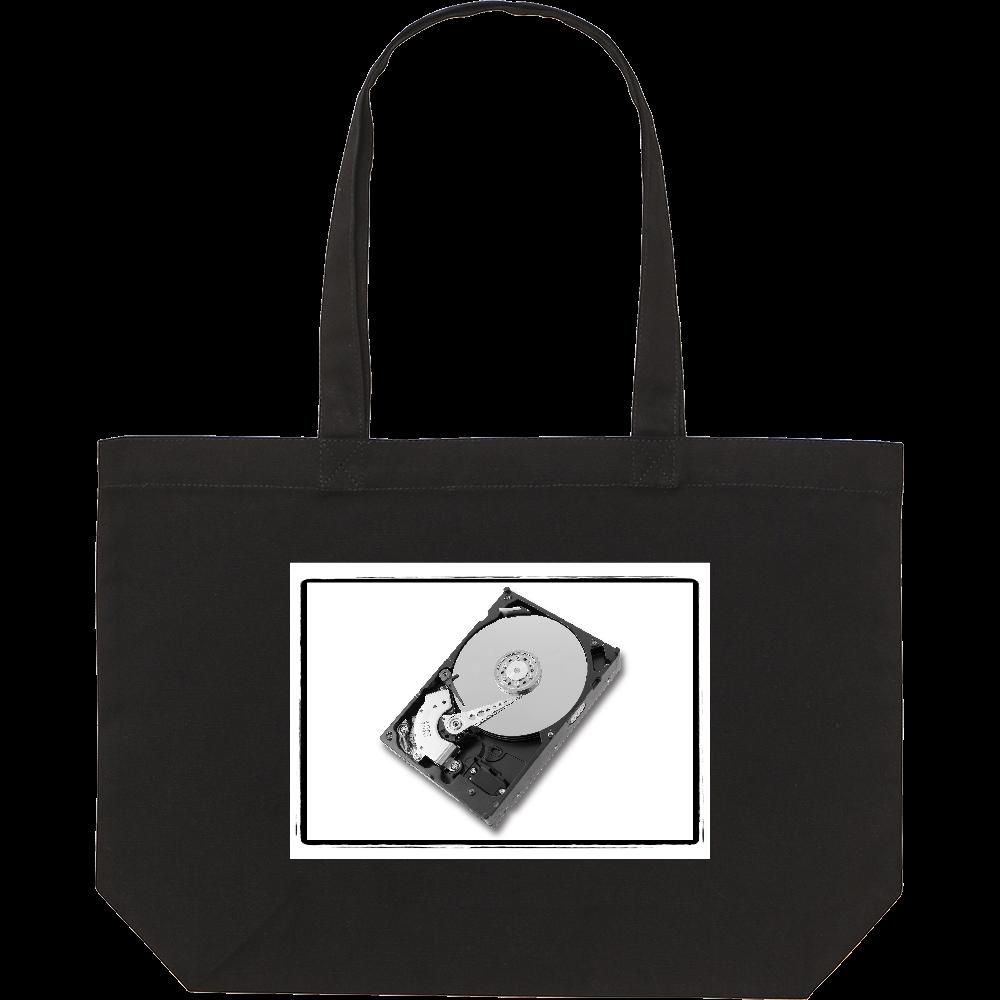 ハードディスク/HDD/グラフィック/カジュアル/理系/スタンダードキャンバストートバッグ(W) ブラック/通学ワイド幅 スタンダードキャンバストートバッグ(W)