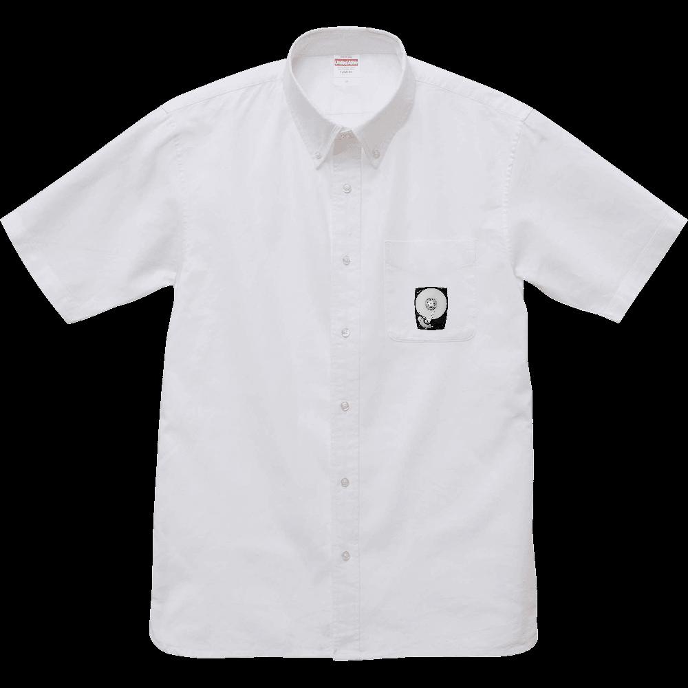 かっこいいワンポイントオックスフォードボタンダウン半袖シャツ・ハードディスク/HDD/グラフィック/カジュアル/理系/白・ブルー・グレー オックスフォードボタンダウンショートスリーブシャツ