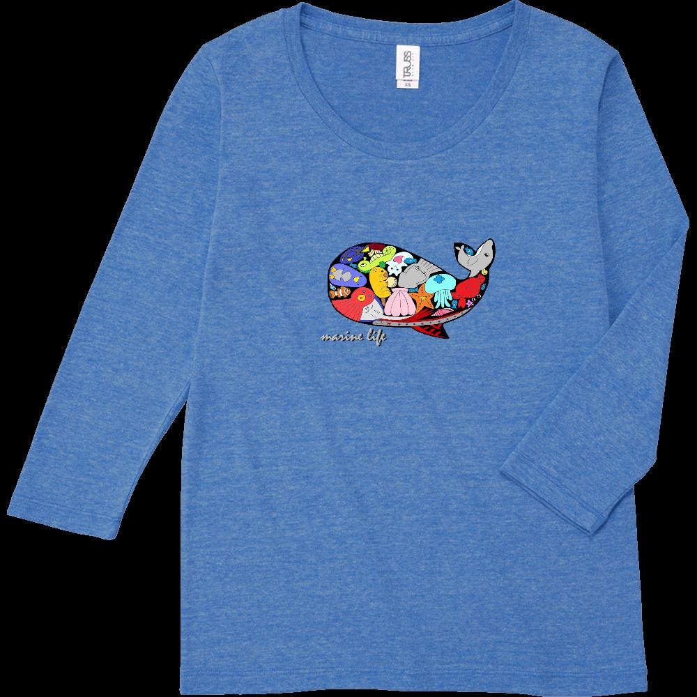 くじら/カラー トライブレンド7分袖レディースTシャツ