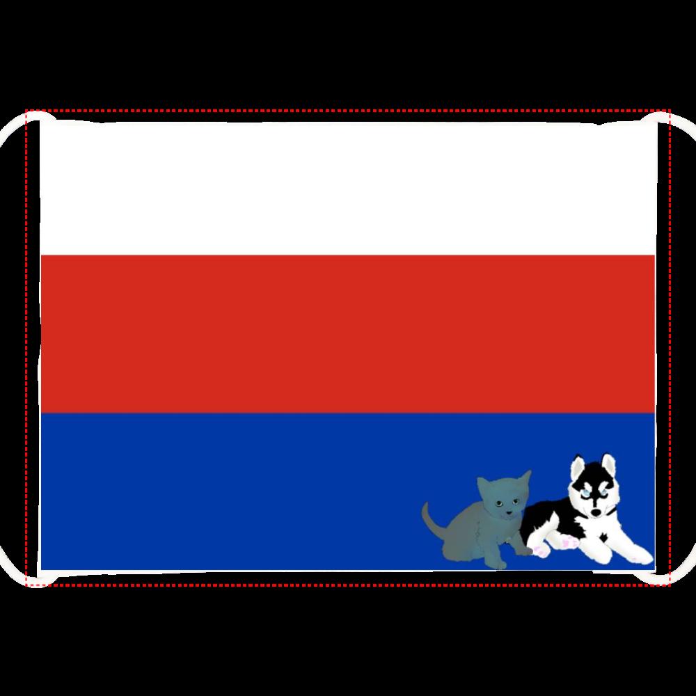 ロシアンわんちゃん猫ちゃん国旗デザイン ひんやりマスク