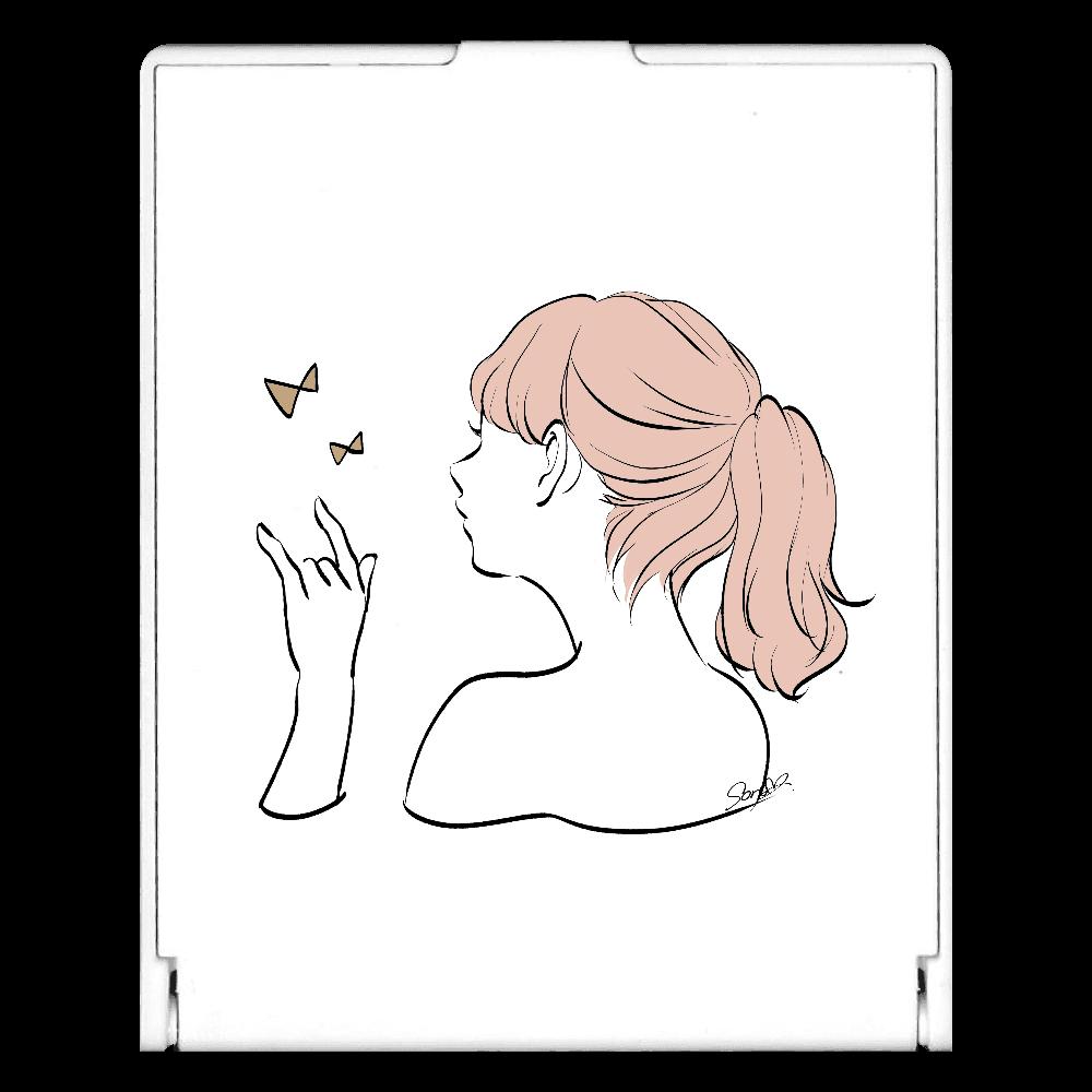 女の子×リボンモチーフのスクエアミラー スクエアミラー