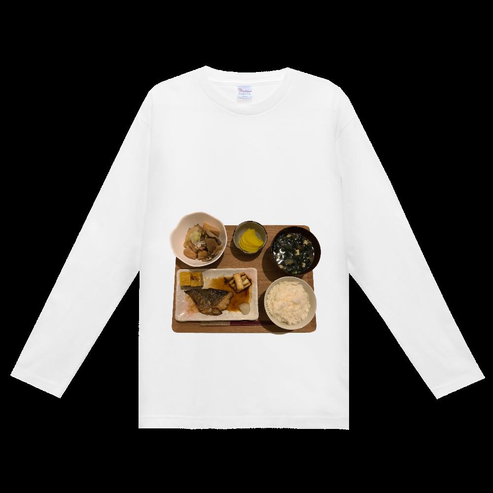 シャツ女子の献立  たらの煮付けと煮物の定食 長袖シャツ ヘビーウェイト長袖Tシャツ