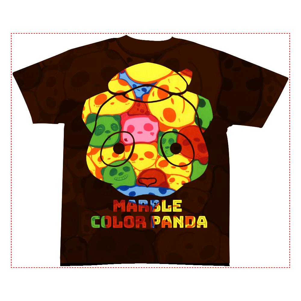 【マーブル・カラー・パンダ】の全面インクジェットTシャツ(Sサイズ) 全面インクジェットTシャツ(S)