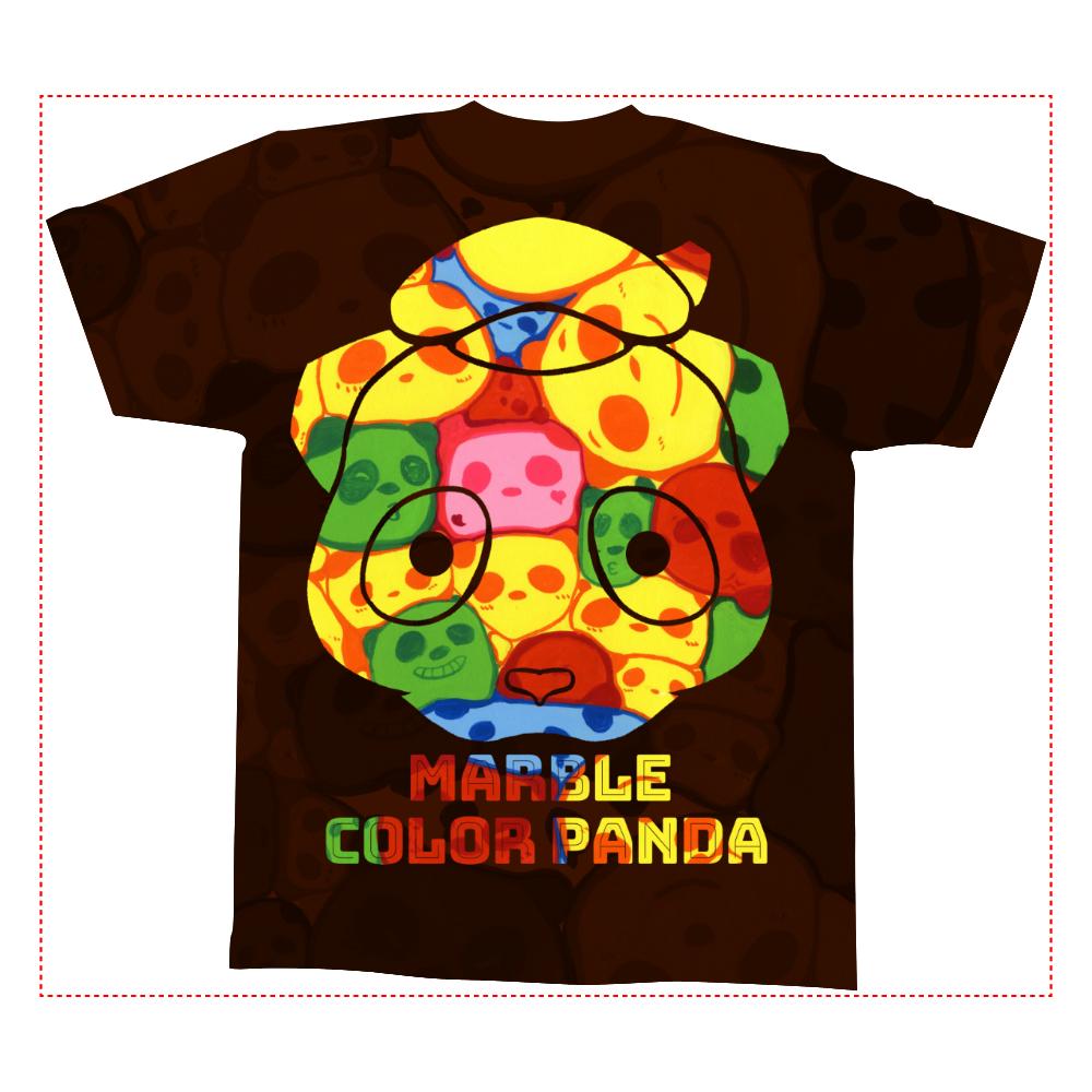 【マーブル・カラー・パンダ】の全面インクジェットTシャツ(Mサイズ) 全面インクジェットTシャツ(M)