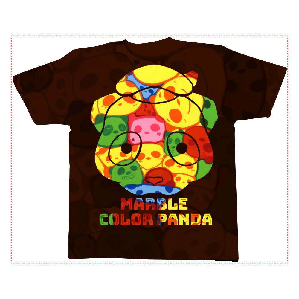 【マーブル・カラー・パンダ】の全面インクジェットTシャツ(Lサイズ) 全面インクジェットTシャツ(L)