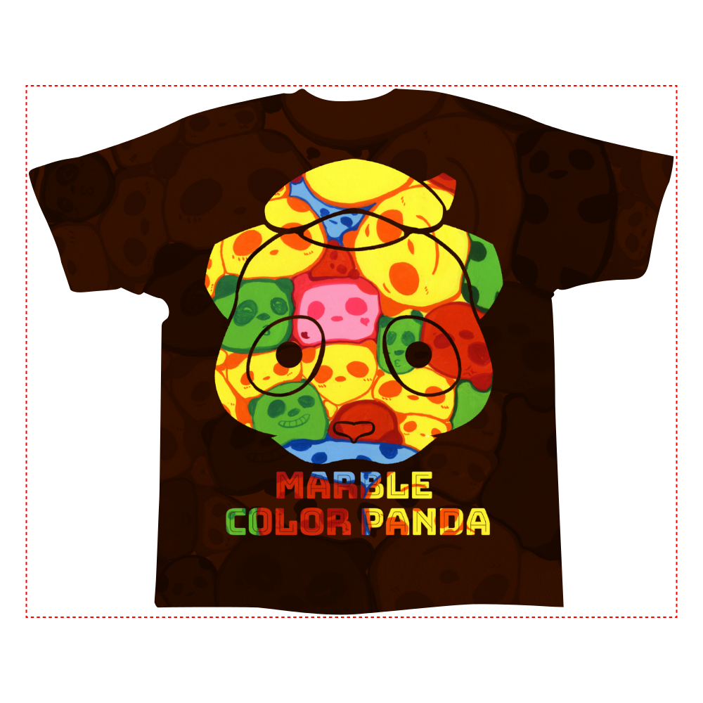 【マーブル・カラー・パンダ】の全面インクジェットTシャツ(XLサイズ) 全面インクジェットTシャツ(XL)