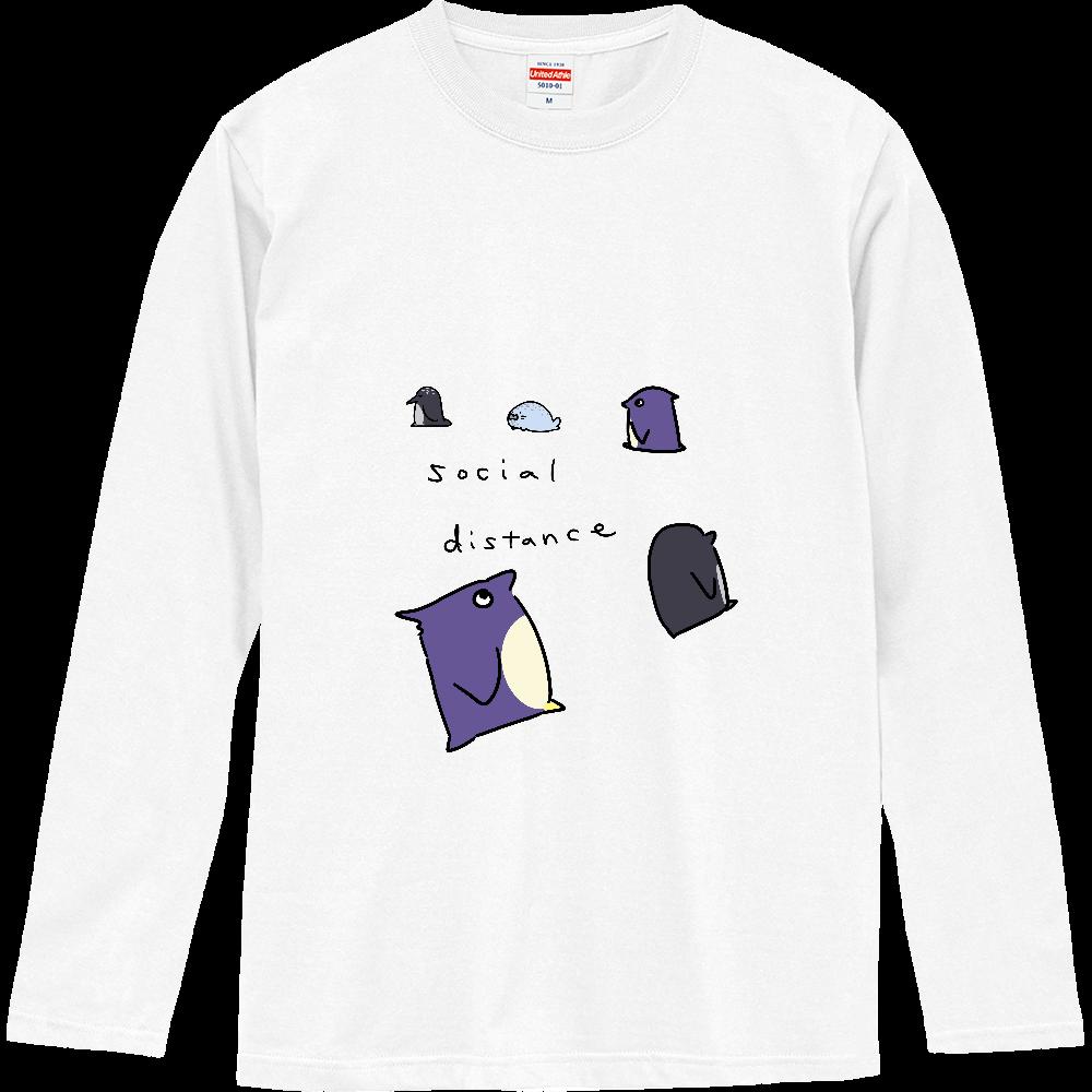 ペンギン達のソーシャルディスタンス ロングスリーブTシャツ