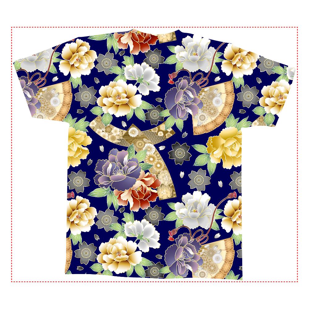 おもしろTシャツ 和柄 牡丹と桜と扇子 全面プリント メンズ レディース 全面インクジェットTシャツ(M)