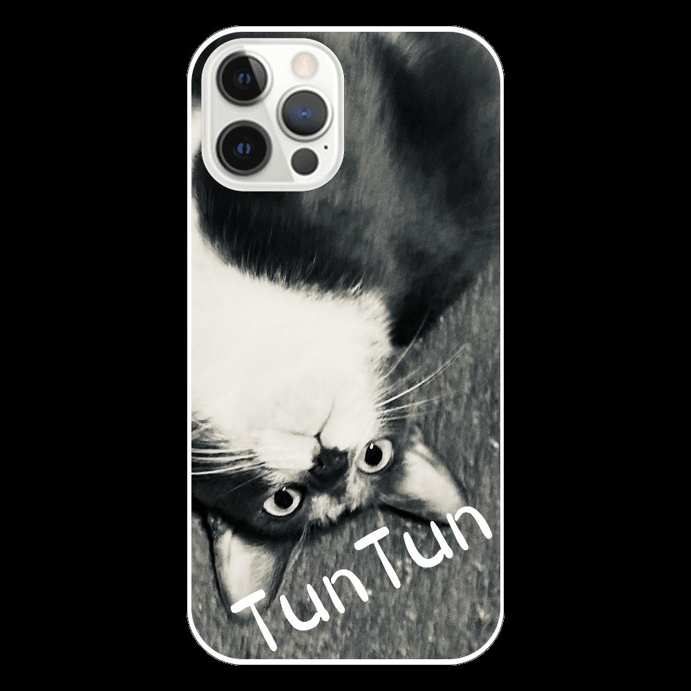 逆さまにゃんモノクロ iPhone12 Pro(透明)