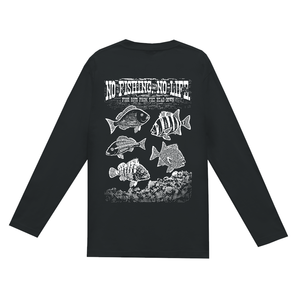 SALTWATER FISH_S4_W(背面) ヘビーウェイト長袖Tシャツ
