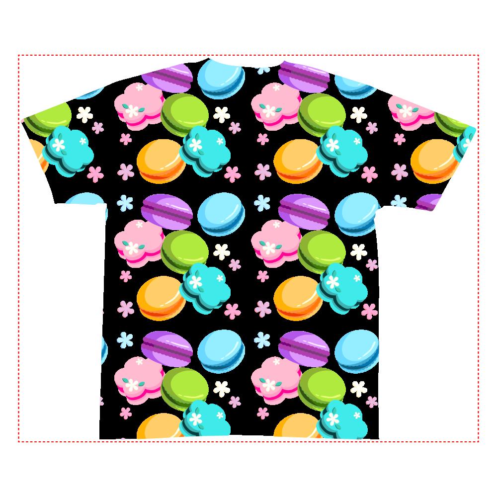 丸・花・ハートの形をしたカラフルなマカロン 全面インクジェットTシャツ(S)