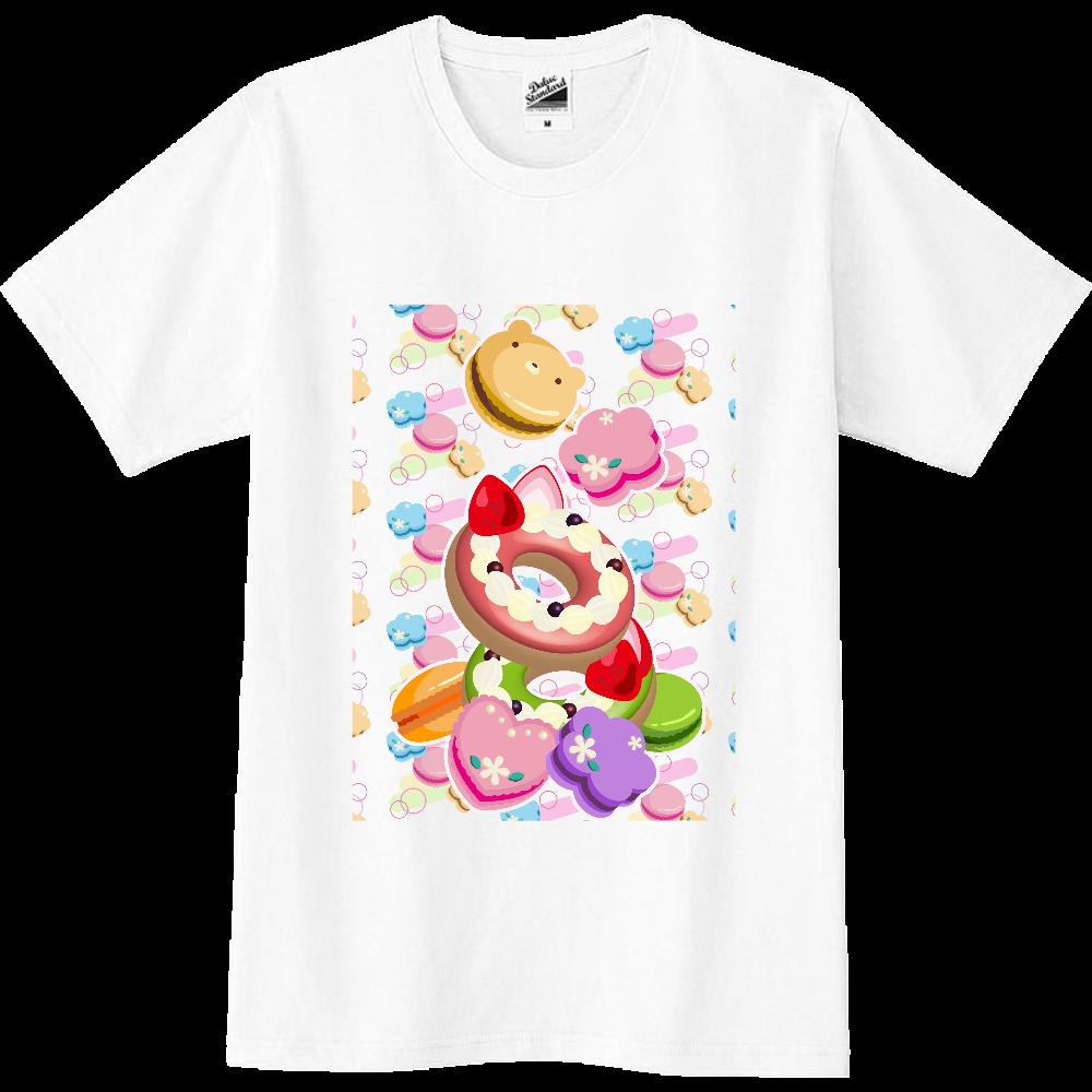 丸・花・ハートの形をしたカラフルなマカロンと2つのデコレーションドーナツ スリムTシャツ