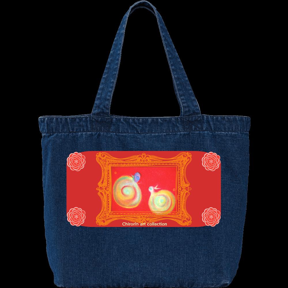 デニム ラージ トートバッグ  ❁Chirorin art collection ❁ デニム ラージ トートバッグ