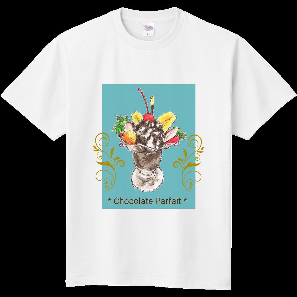 チョコレートパフェ(寒色背景)半袖Tシャツ※カラー選択可 定番Tシャツ