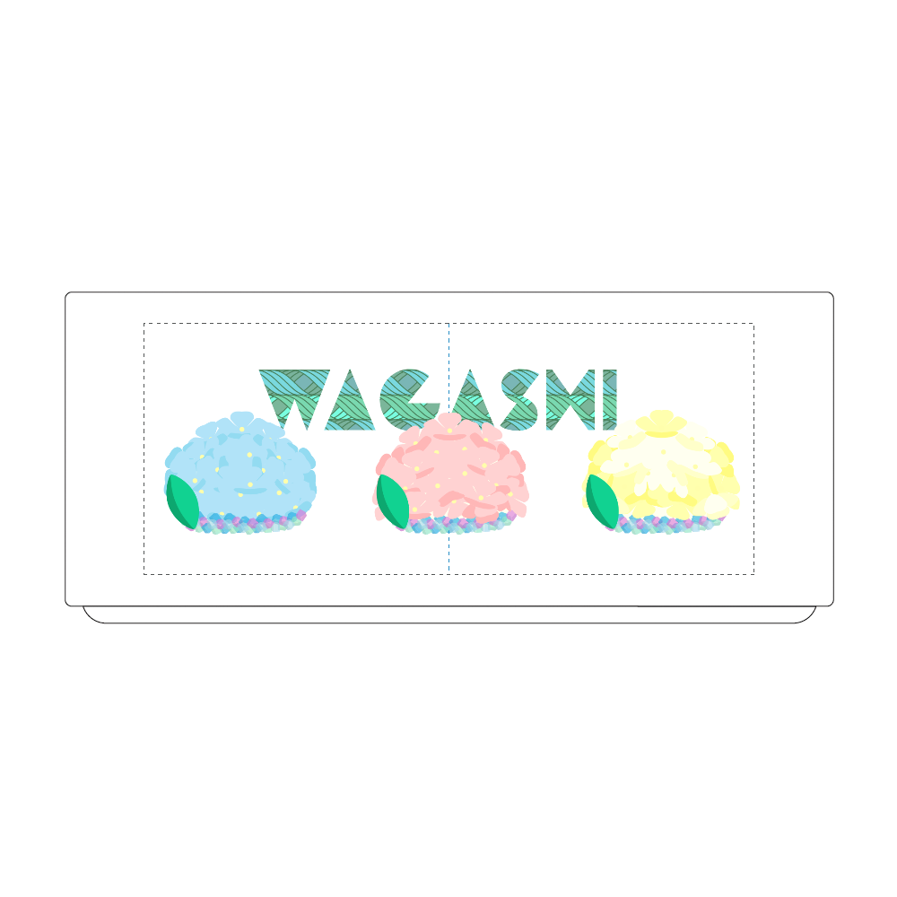 桃色・水色・黄色の紫陽花の形をした和菓子を並べて 湯のみ(S)