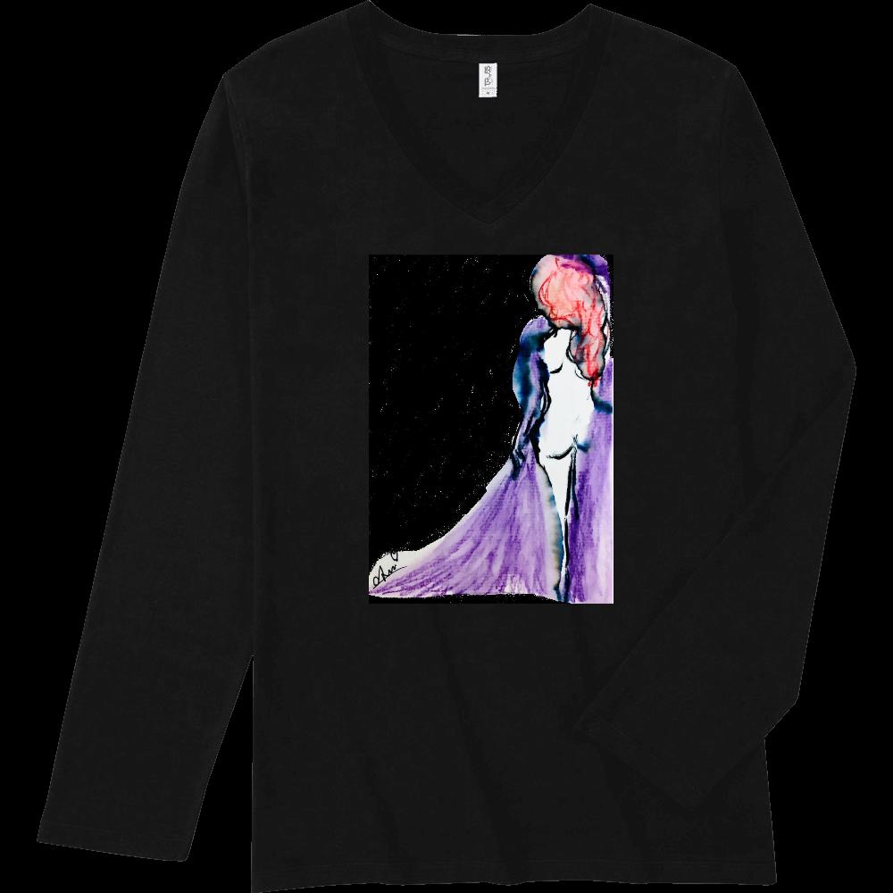 「紫の夜明け」 スリムフィット VネックロングスリーブTシャツ