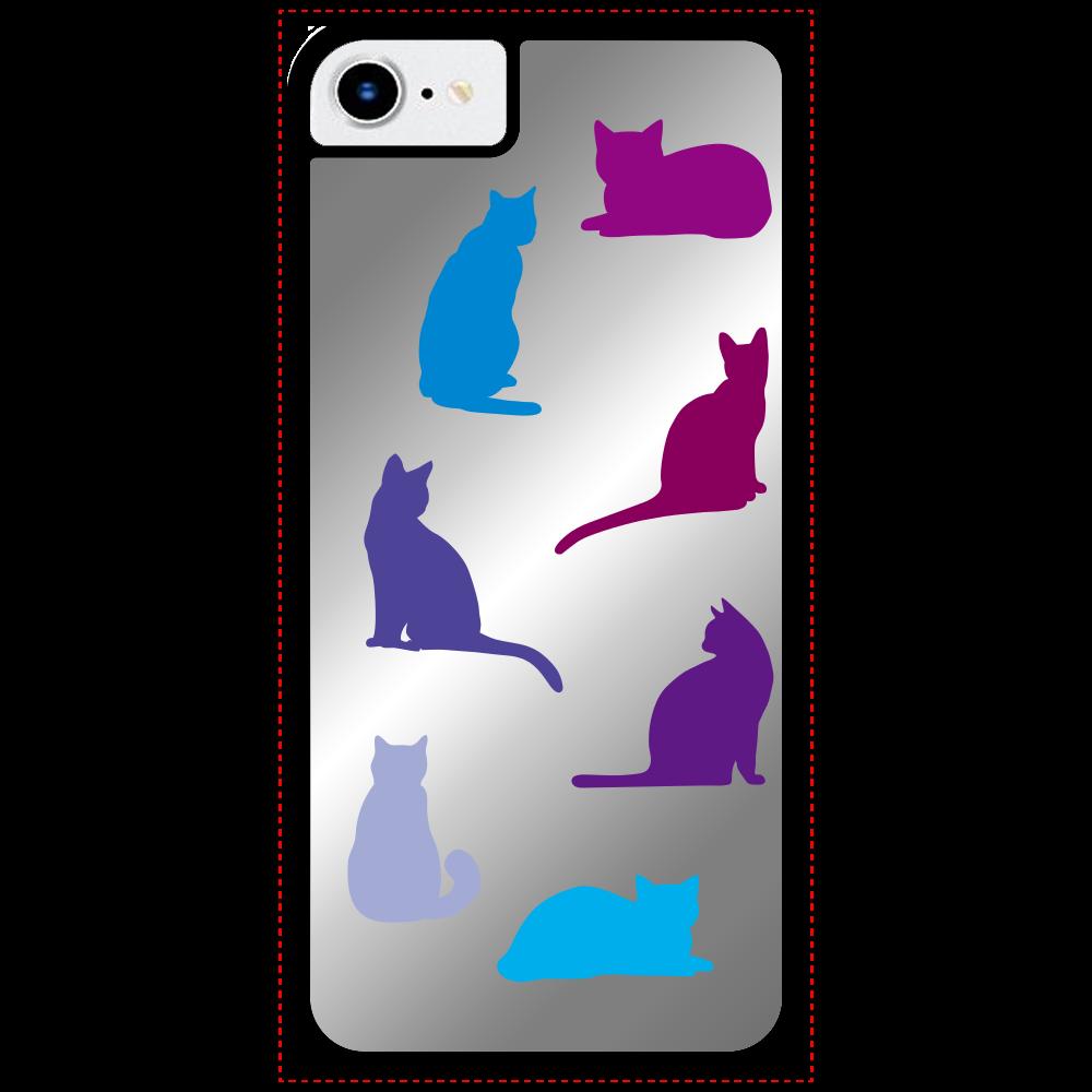 猫たちのiPhone SE2ミラーパネルケース ミラー iPhone SE2ミラーパネルケース