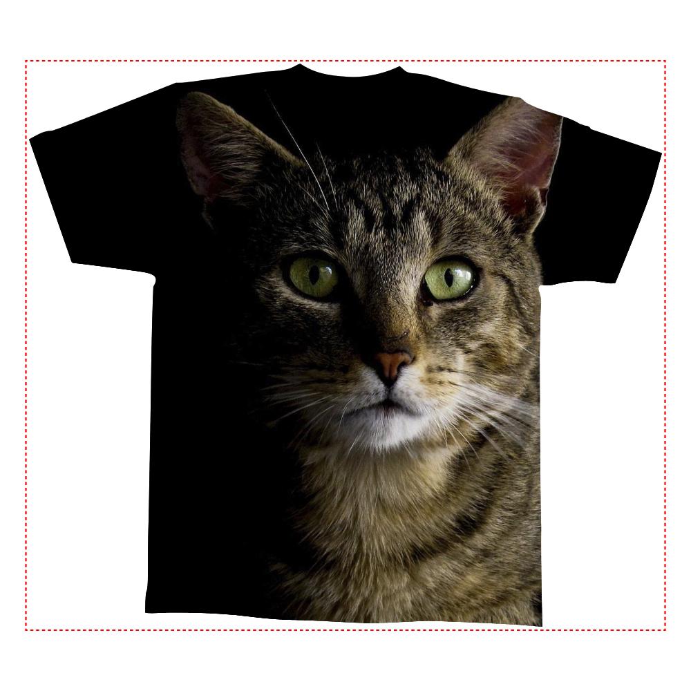 おもしろTシャツ BIG CAT メンズ レディース 全面印刷 全面インクジェットTシャツ(M)