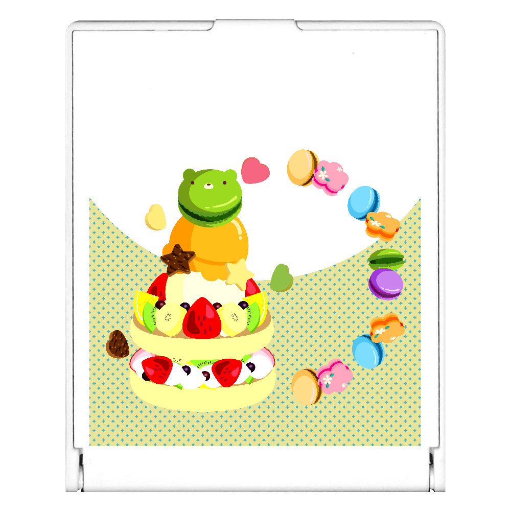 イチゴとキウイ・バナナ・オレンジのフルーツケーキにアイスクリームとマカロンをのせて スクエアミラー