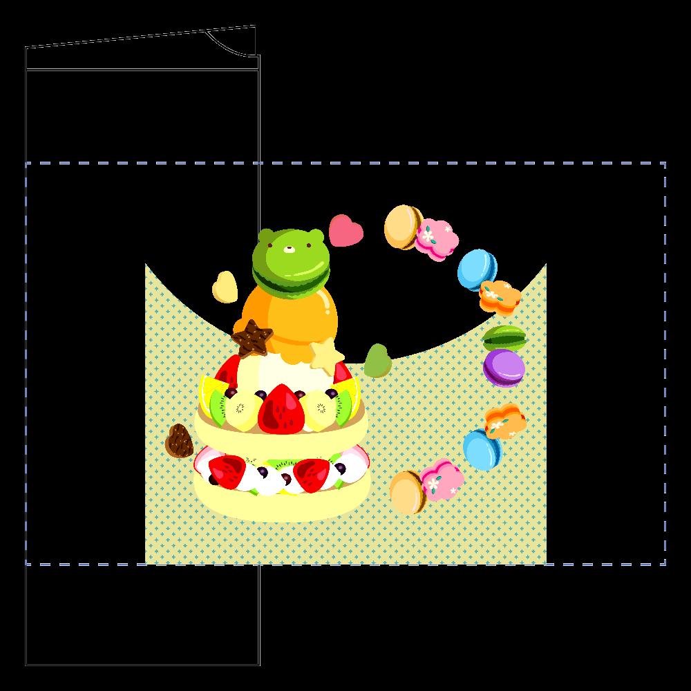 イチゴとキウイ・バナナ・オレンジのフルーツケーキにアイスクリームとマカロンをのせて フタ付サーモストレートタンブラー(450ml)