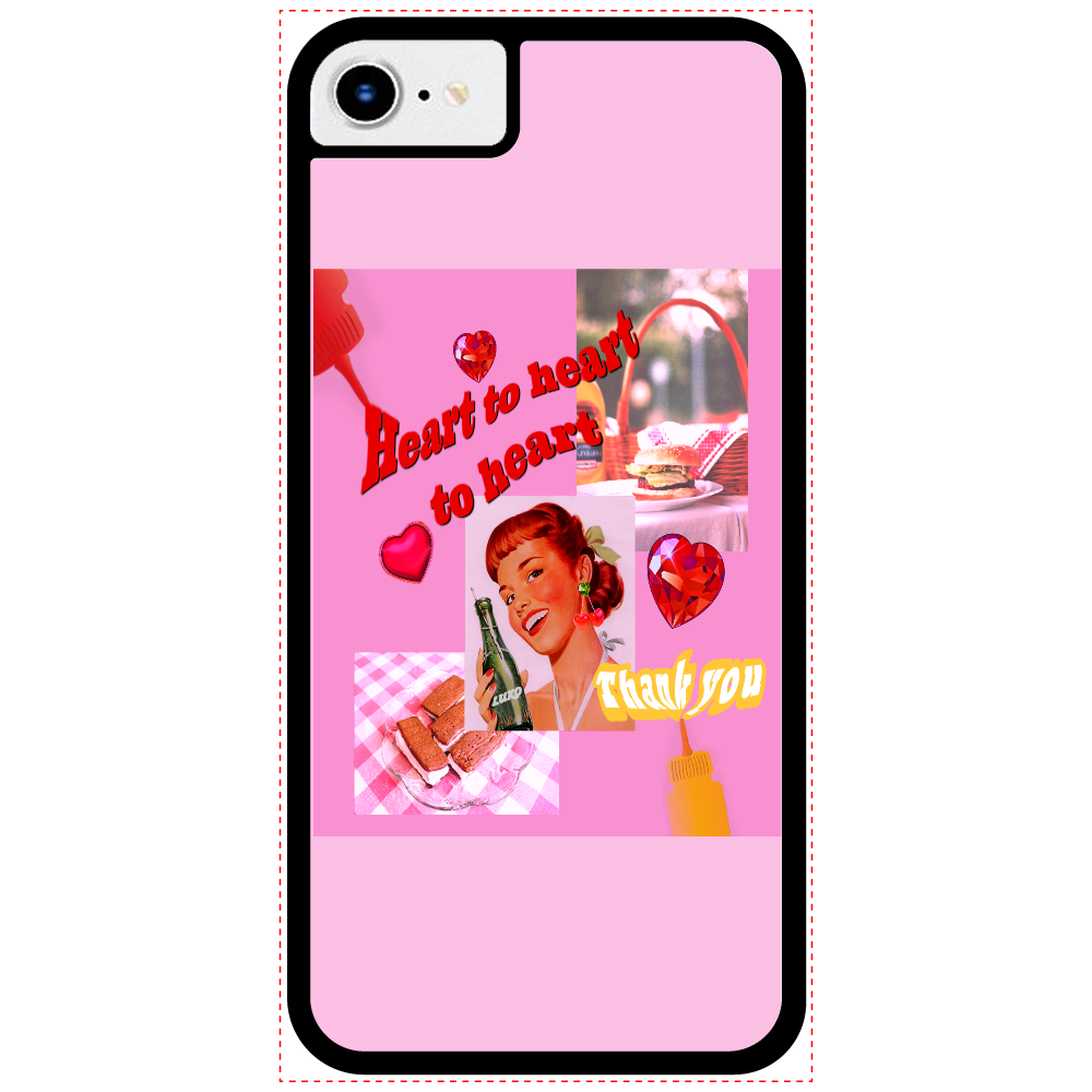 Heart to heart to heart iPhone8_プリントパネルラバーケース 透明  iPhone8_プリントパネルラバーケース
